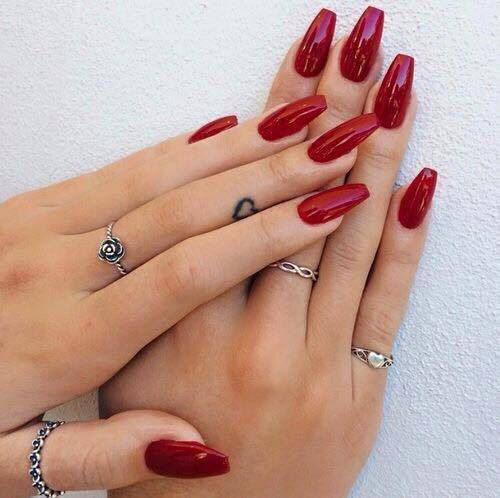 Medium Length Red Nails