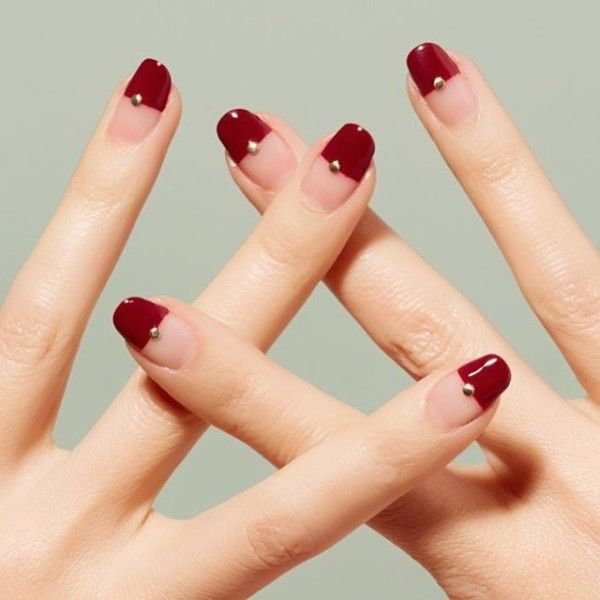 Short Nails With Red Tips