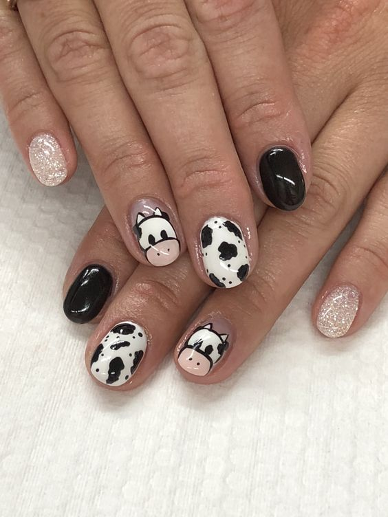 Cow Printed Nails art