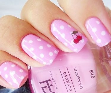 Pink Polka Dot Nails art design