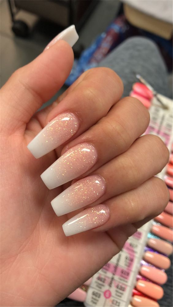 Baby Pink and White Ombre Nails