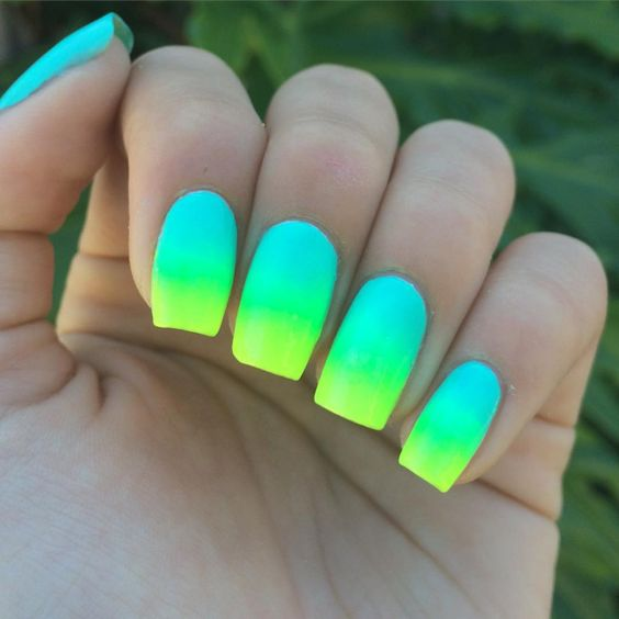 Green and Yellow Ombre Nails