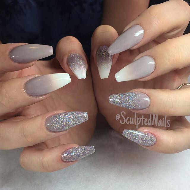 Silver Glitter and white Ombre Nails