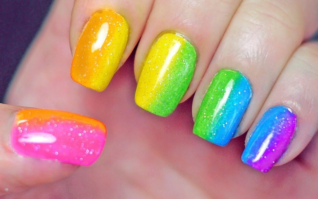 ombre rainbow nails