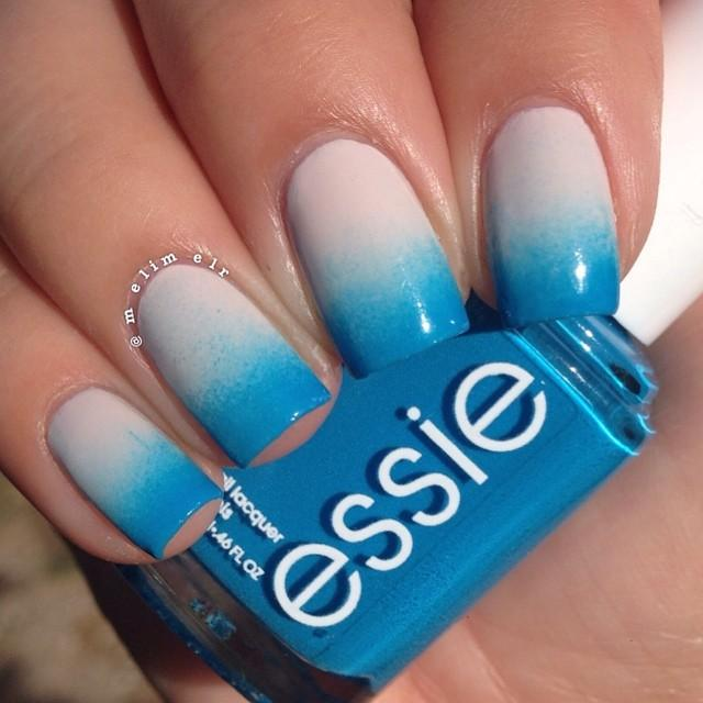 Blue and White Ombre Nails