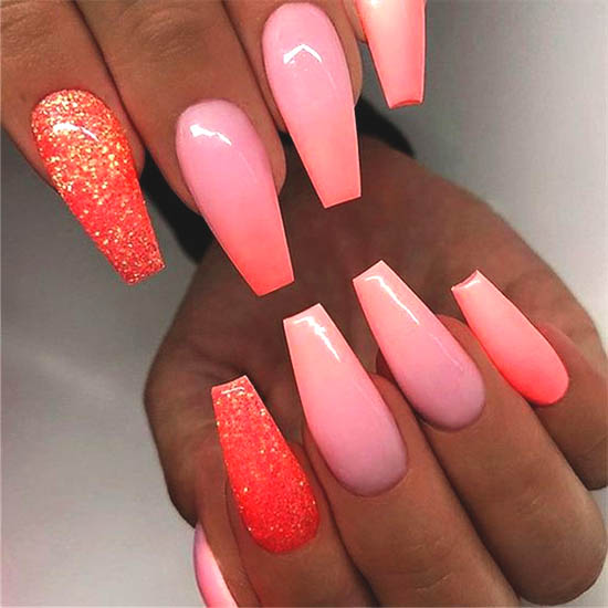 Red, pink and white Ombre Nails