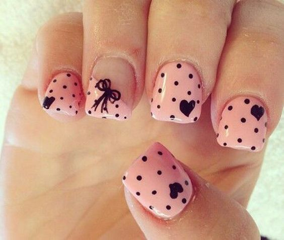Pink and Black Polka Dot Nail art with Heart designs