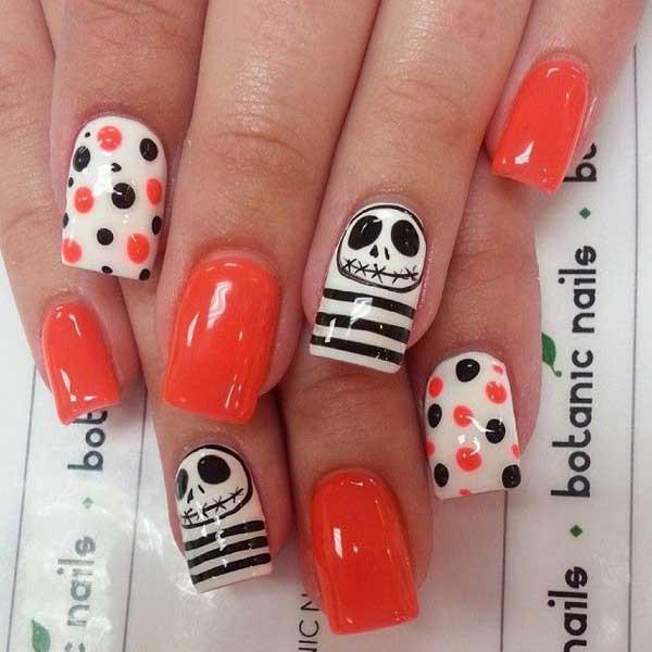 Polka dot Halloween Nails