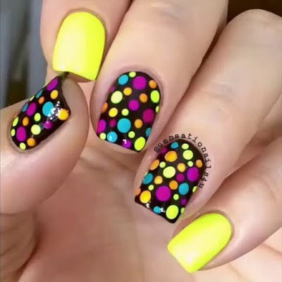 Yellow, Black and Green Polka dot Nails