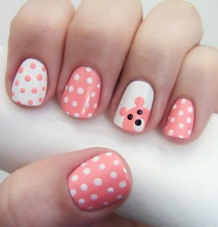 Light Pink and White Polka Dot nails