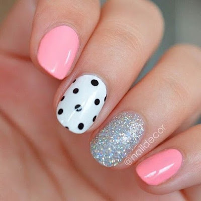 White, Black and Pink Polka Dot Nails
