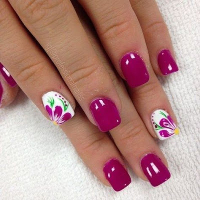 red, pink and white Spring Nail Art Design