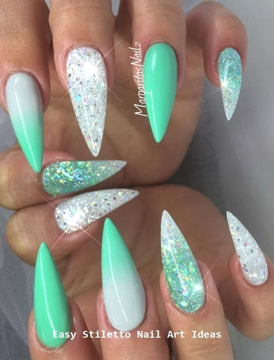 Silver and Green Acrylic Nail Art design
