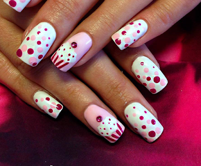 Cake and Polka Dot Nails