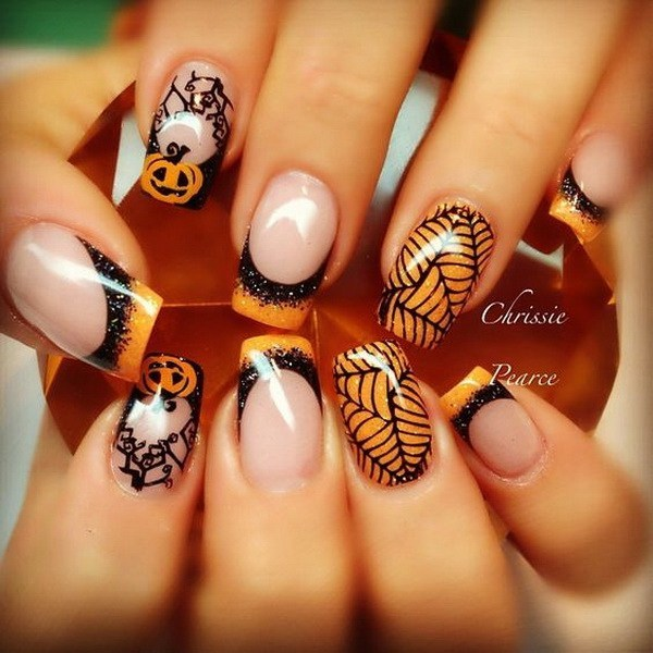 Cute Pumpkin Nails design