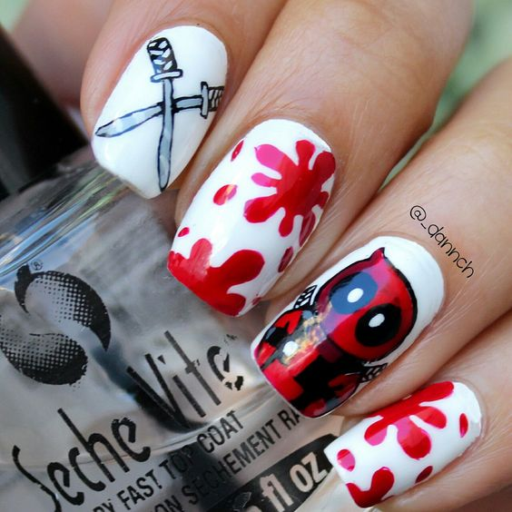 red and white Halloween nails