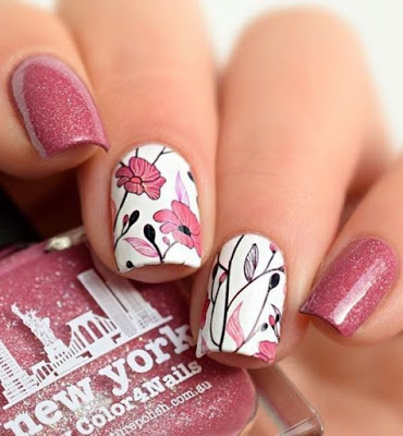 Spring Nail Art Design with pink and white flowers