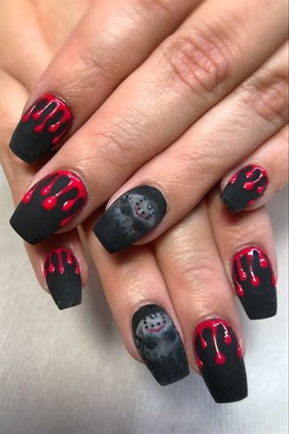 Black and Red Halloween nails