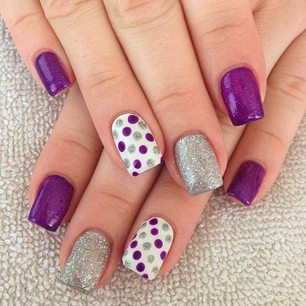 White and Purple Polka Dot nails with Glitter