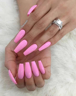 Long Pink Nails Polish