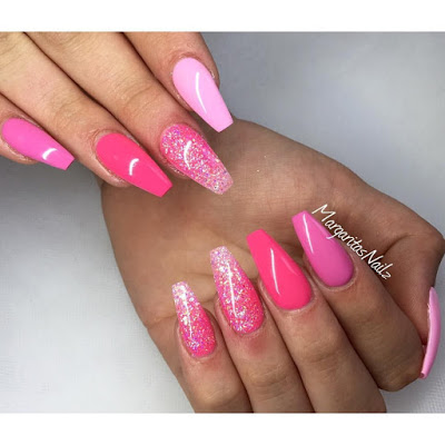 Bright Pink Coffin Nails