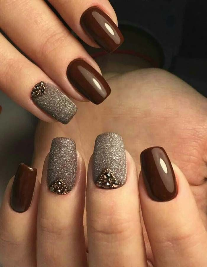 brown and glitter nails