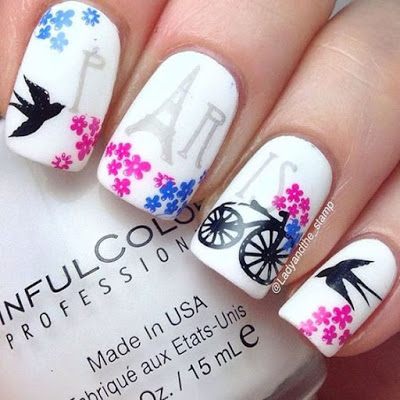 Spring Nail Art Design with red flowers and birds