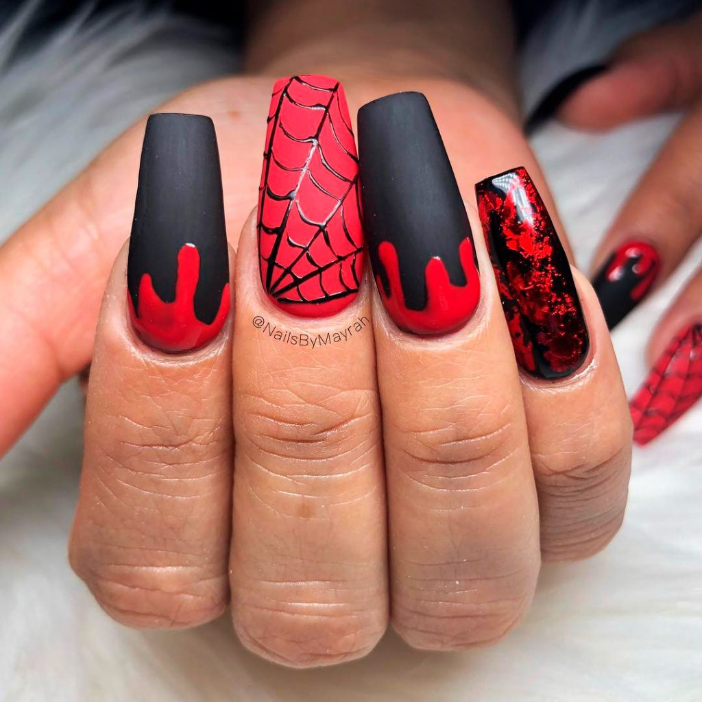 Black and Red Spider nails