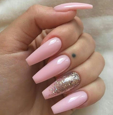 Long Baby pink nails with silver glitter