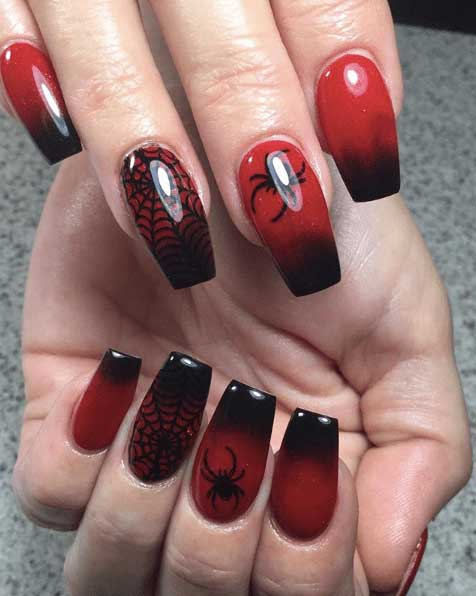 Spider and spiderman nail designs