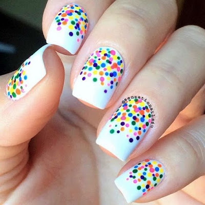 Polka Dot Nails with Multi Colors