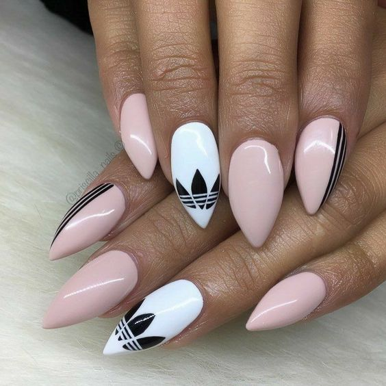 Pink and white nails with Pattern