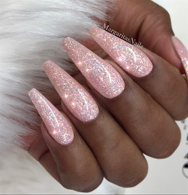 Long pink Coffin Nails with Glitter