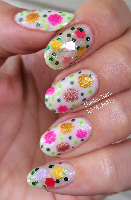 Polka Dot Nails with Flowers Designs