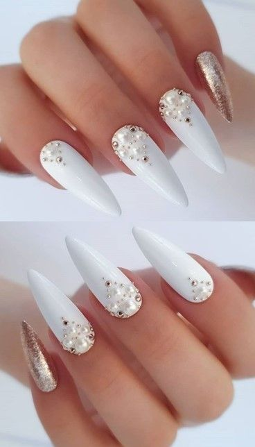 White long nails with diamond and glitter