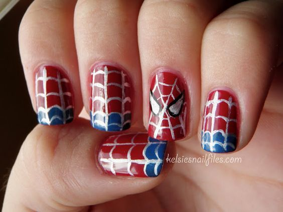 spiderman nail acrylic