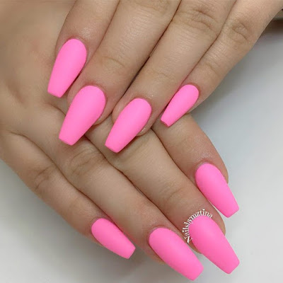 Simple Coffin Nails With Pink Nail Polish