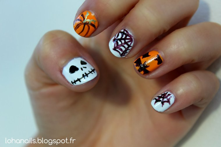 Pumpkin and scary face nail art