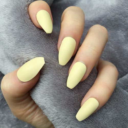 Matte Yellow Coffin Nails