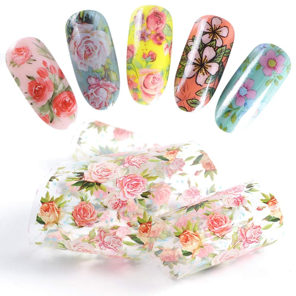 Nail Foil Polish Stickers Mix Rose Flower