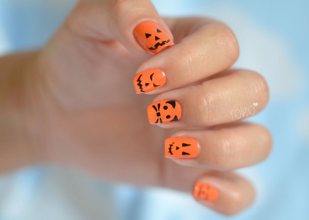 orange and black nail designs