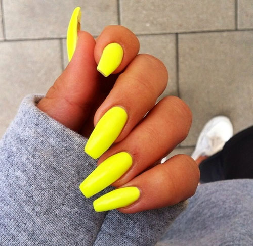 Yellow Coffin Nails Long