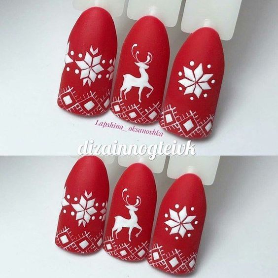 christmas rain dear nails designs