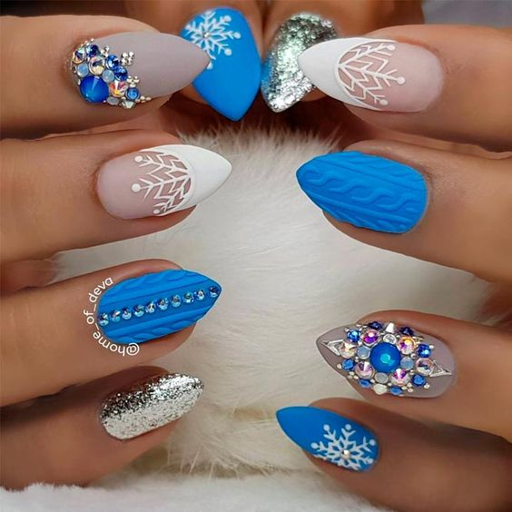 Christmas nails designs, blue and white nail polish with diamond