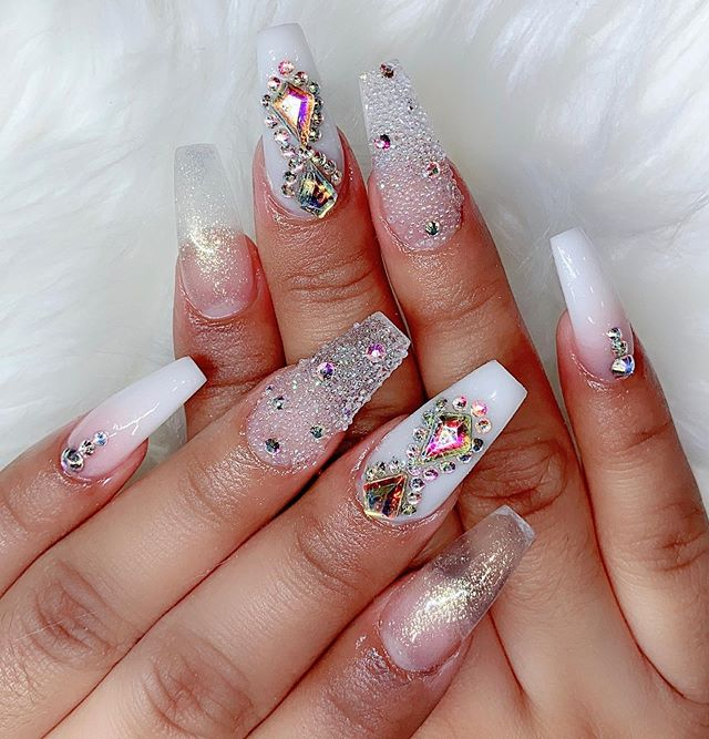 white and pink Rhinestones nail Designs