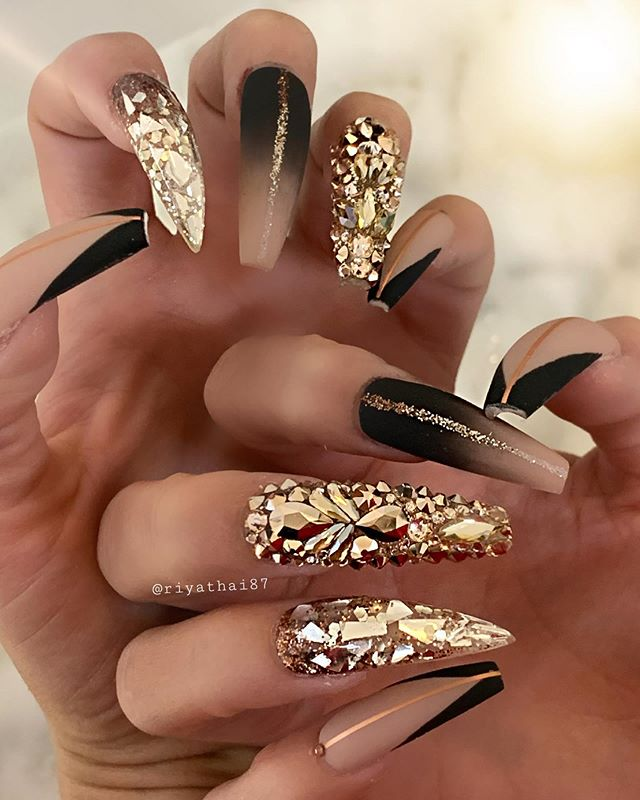Black and Gold Coffin Nails Designs