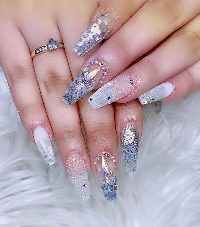Beautiful Coffin Nails with stone