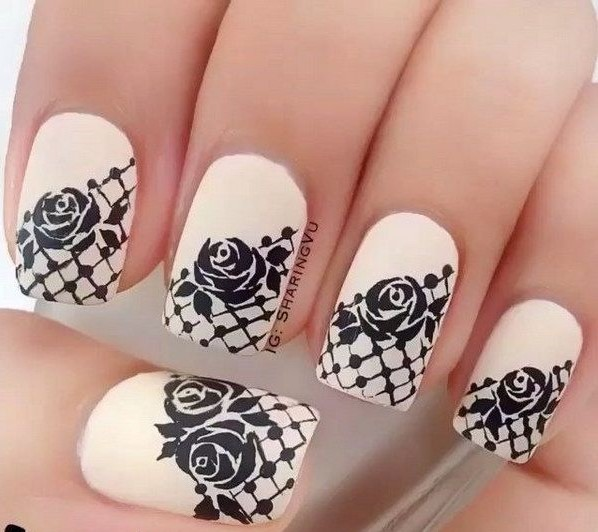white and black lace nails