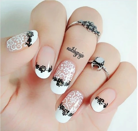 white Lace Nail with black designs