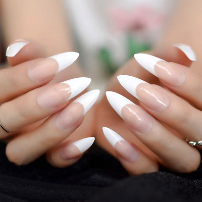 long white tip nails design